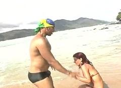 Redhead Tranny In Bikini Receives Rammed On A Beach