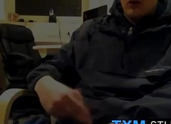 Tyler squirting a load in turn of the camera in the office