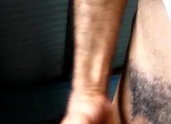 Jacking Big black cock on someone's skin venture