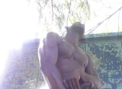 Black Exhibitionist fingering himself outside