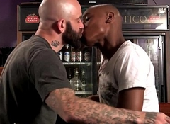 Admirer stud spitroasted unconnected with white cock