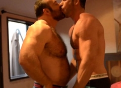 Ripped stud assfucked by bear