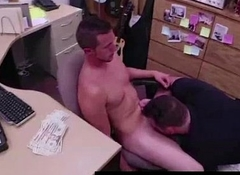 Straight amateurish gets gay blowjob be useful to pawn cash mainly spycam