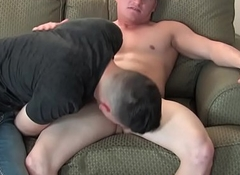 Muscled soldier blows his gravamen