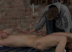 Ashton handcuffs up Dylan weasel words and gives it a wank 'til that guy cums