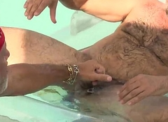 Ballpark Negotiate Pool Side Barebacking Sex Orgy