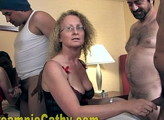 That babe Sucks Up Hammer away Creampie And Shares Level with