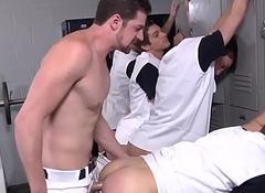 Masturbating gay twinks attempt lockerroom fuckfest