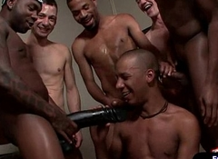 Gay Gangbang Fucking With an increment of Bukkake Orgy Video 08