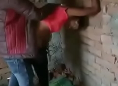 Indian sheboy shafting outside with two boyz