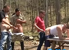 Ribald joyful ass fucked hither open-air foursome by wood rangers