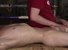 Unconfident lubricated twink Taylor Mason foot fucked