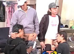 Cute Latino youngster fucked bareback chips automated blowjob