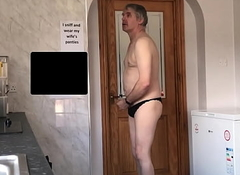 sissy neil wanks in his wifes camiknickers