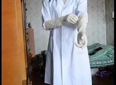 crosdresser nigh remedial gown, black wig and long remedial gloves