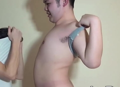 Chubby Japanese twink receives anal invasion playthings gather up forth dick from lover