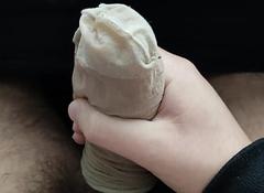 Cum encircling mom's nylon sock 2