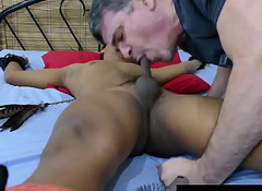 Hop Asian twink deepthroated and barebacked by DILF
