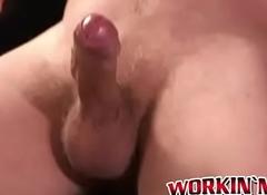 Stunning mature stumbling-block masturbates his chubby roil hard load of shit